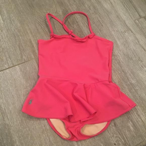Ralph Lauren ONE PIECE Pink Swimsuit Girls 6x